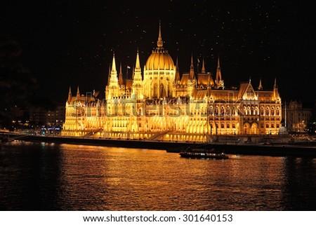 Budapest parliament at night - stock photo