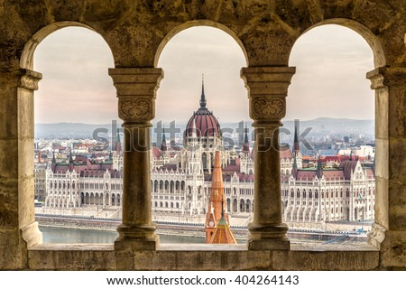 Budapest,  Parliament view through Fishermans Bastion, Hungary - stock photo