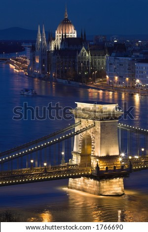 Budapest, the capital of Hungary is one of the nicest cities. It lies on both sides of the river Danube. The old Chain Bridge and the Parliament are famous landmarks of the city. - stock photo