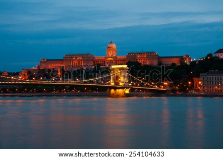 Budapest, the Royal Palace in the evening - stock photo