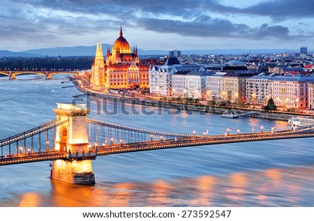 Budapest with chain bridge and parliament, Hungary - stock photo