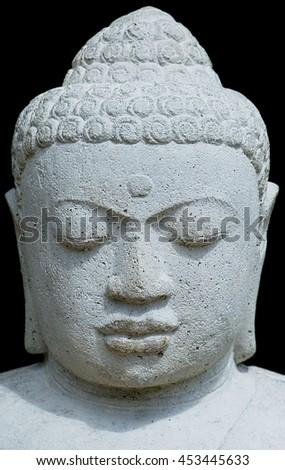 Buddah Head isolated on black background - stock photo