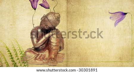 buddha and flora background image with plenty of space for text - stock photo
