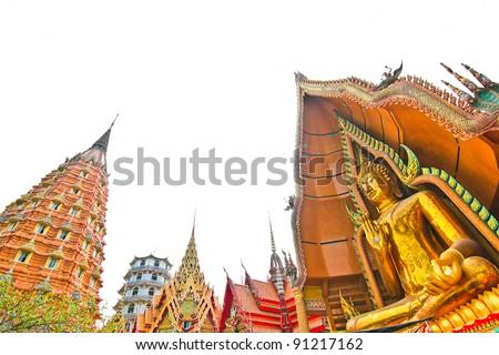 buddha and pagoda - stock photo