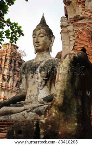 Buddha at ruin temple, Ayutthaya Thailand - stock photo