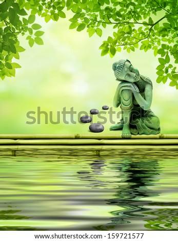 Buddha at the water's edge - stock photo