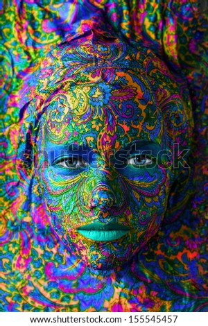 buddha color face art woman close up portrait - stock photo