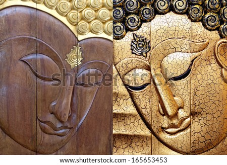 Buddha face carving 6 pieces of wood and gold gilded handcrafts  - stock photo