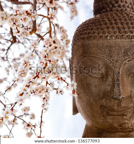 Buddha face with cherry blossoms - stock photo