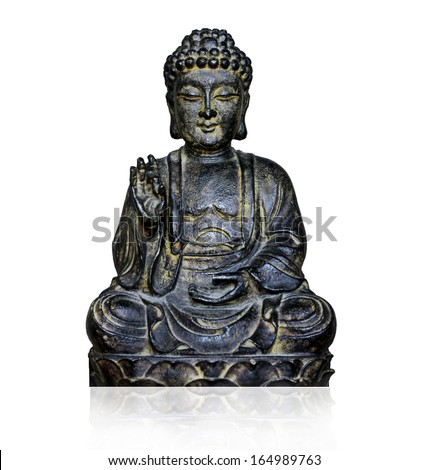 Buddha figure isolated on white background - stock photo