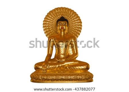 Buddha gold on a white background. - stock photo