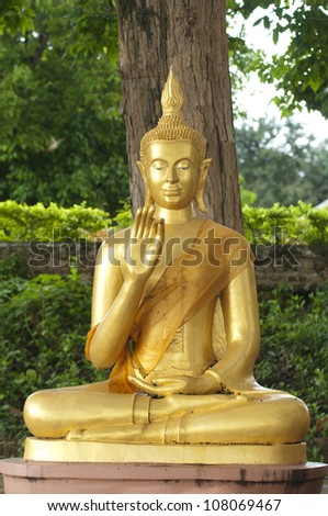 buddha gold under tree in temple - stock photo