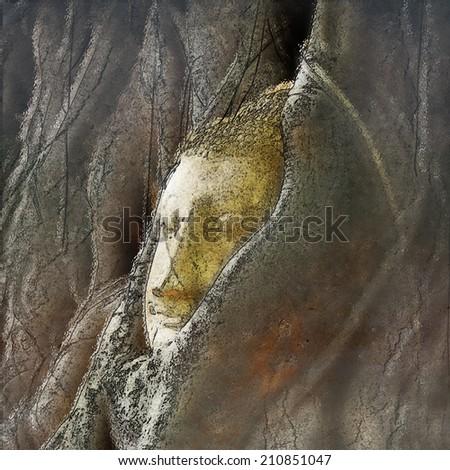 Buddha head from Ayutthaya in Watercolor - stock photo