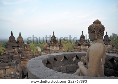 Buddha in Borobudur Temple on Java island - stock photo