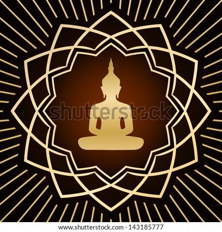 buddha in gold flower - stock photo