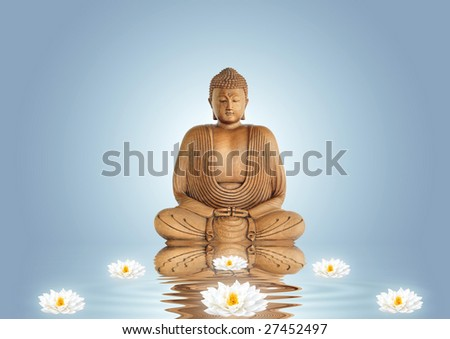 Buddha in meditation and lotus lily flowers with reflection over rippled water, set against a blue background with white central glow. - stock photo