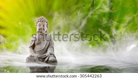 Buddha in meditation in water - stock photo