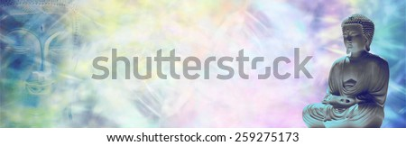 Buddha Meditation Website Banner   Ethereal multicolored background with a seated statue of Buddha on right side and Buddha face on left hand side with plenty of copy space between - stock photo