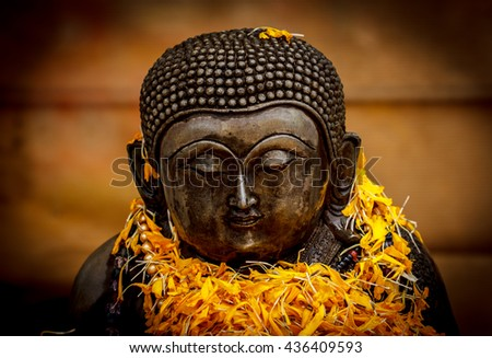 Buddha old statue from temple in Thailand - stock photo