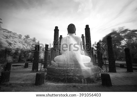 Buddha sculpture in Black and white, shooting Near Infrared style, IR. Thailand - stock photo