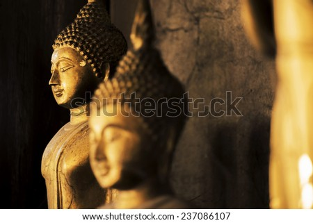 Buddha sculpture in thailand temple - stock photo