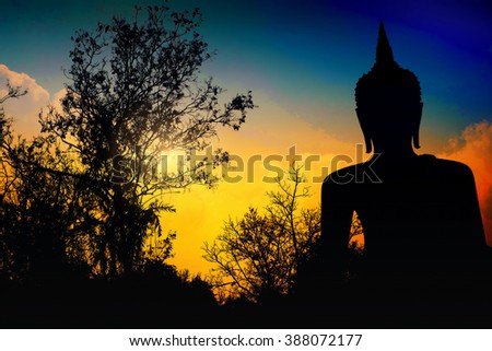 Buddha silhouette - stock photo