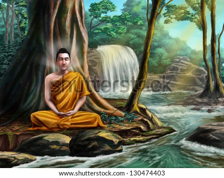 Buddha sitting in meditation near a small stream, in a peaceful forest. Digital illustration. - stock photo