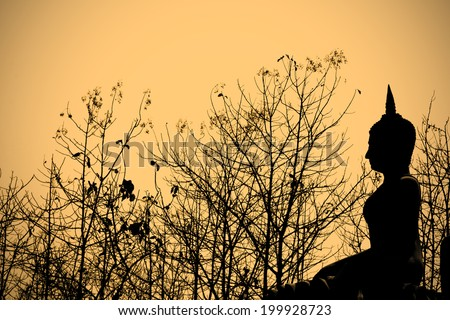 Buddha statue and trees silhouette - stock photo