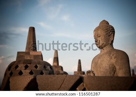 Buddha statue at Borobudur temple, Java, Indonesia - stock photo