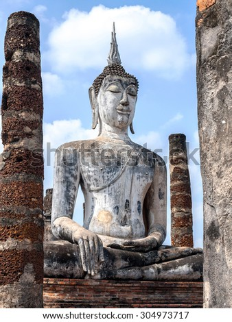 Buddha statue at Sukhothai historical national park - stock photo