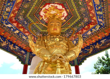 Buddha statue at Ten Thousand Buddhas Monastery in Hong Kong, China. - stock photo