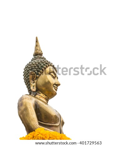 Buddha statue for Songkran festival isolated on white background, with clipping path. - stock photo