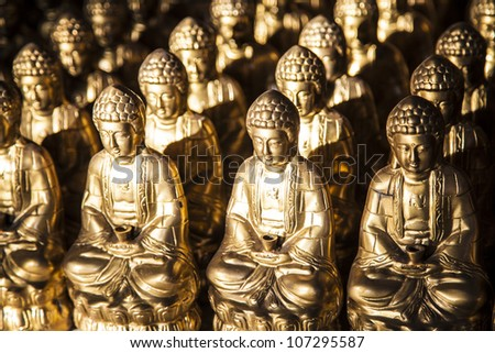 buddha statue in a row - stock photo