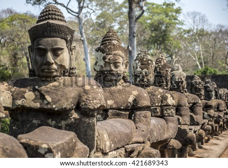 Buddha statue in Angkor wat temple in Siem Reap city in Cambodia - stock photo