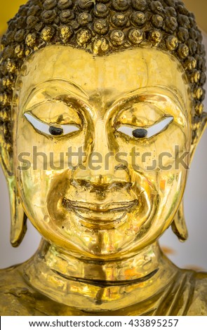 Buddha Statue in Bangkok, Thailand. Generally in Thailand, any kinds of decorated in Buddhist church, etc. they are public domain of Buddhism - stock photo