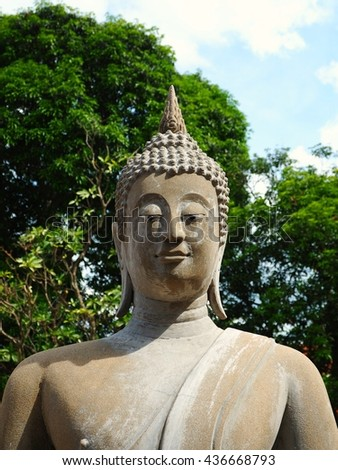 Buddha statue in buddism temple - stock photo