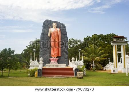 Buddha statue in lokal temple . Sri Lanka - stock photo