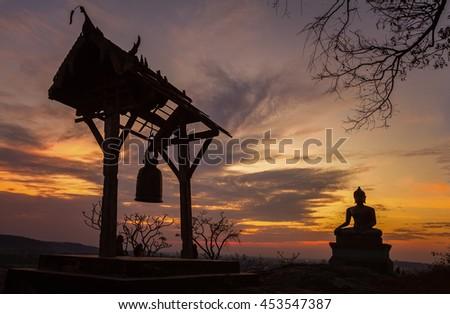 Buddha statue in sunset at Phrabuddhachay Temple Saraburi, Thailand - stock photo