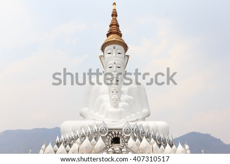 Buddha statue in Wat Pha Sorn Kaew,  also known as Wat Phra Thart Pha Kaew, Khao Kor, Phetchabun, in north-central Thailand, Buddhist monastery and temple of public.  - stock photo