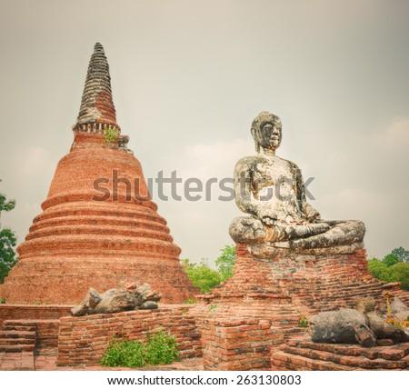 Buddha statue in Wat Worachetharam. Ayutthaya historical park.  - stock photo
