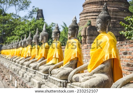 Buddha statue in Wat Yai Chai Mongkol, Ayuttaya of Thailand. - stock photo