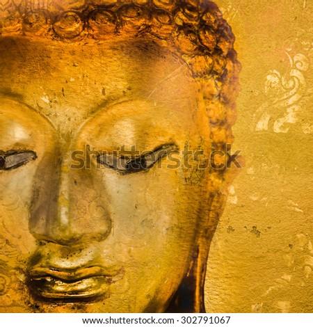 Buddha statue on grunge background. - stock photo