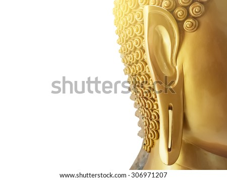 Buddha statue on white background - stock photo