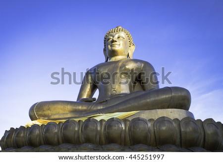 Buddha statue Thailand End of Buddhist Lent Day Vesak Wesak Visak Bohea Visakha Bucha Zen Eyes Deity Calm Head Show Pray Siam Wat Hope Up Big Sun Sky Blue White Gold God Asia Face Faith East Travel  - stock photo