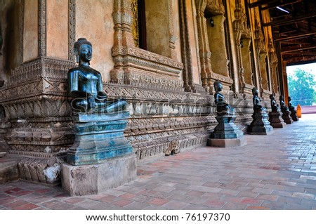 Buddha statue. Wat Ho Phra Keo (Altar of the Emerald Buddha), Vientiane, Laos - stock photo