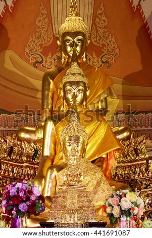 Buddha statues , Face of gold buddha, Close up face of gold buddha, Thailand ,Asia. - stock photo