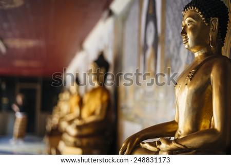 Buddha statues in Doi Suthep temple. - stock photo