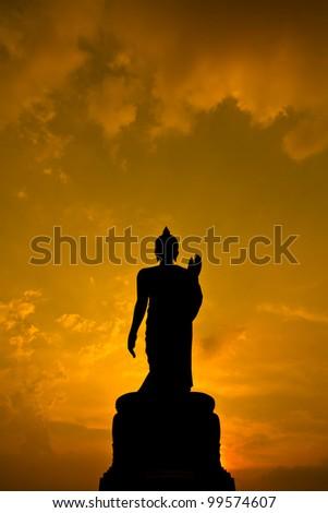 Buddha sunset - stock photo