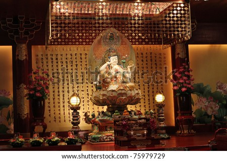 Buddha Tooth Relic Temple in China Town Singapore(cann't use tripod) - stock photo