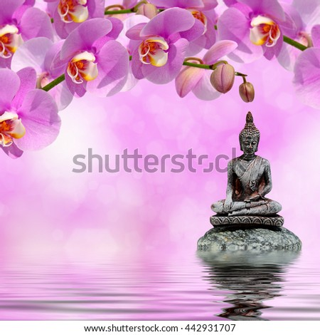 Buddha,zen stone and orchid flowers reflected in water - stock photo